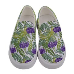 Medium Green Leafs & Flowers Women s Canvas Slip Ons