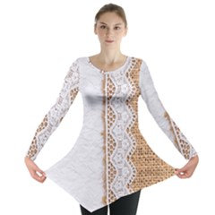 Parchement,lace And Burlap Long Sleeve Tunic