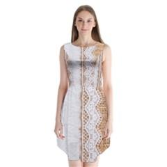 Parchement,lace And Burlap Sleeveless Chiffon Dress