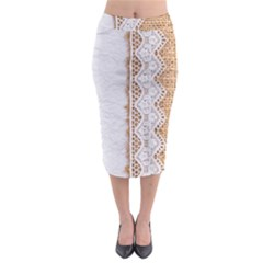 Parchement,lace And Burlap Midi Pencil Skirt