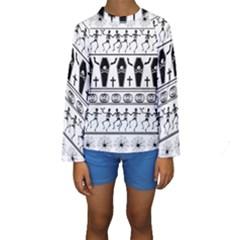 Halloween Pattern Kids  Long Sleeve Swimwear