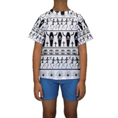 Halloween Pattern Kids  Short Sleeve Swimwear