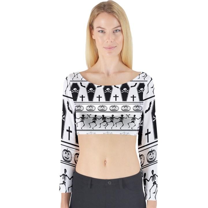 Halloween pattern Long Sleeve Crop Top