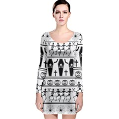 Halloween Pattern Long Sleeve Bodycon Dress