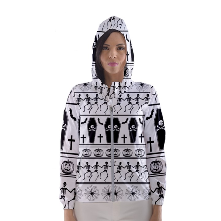 Halloween pattern Hooded Wind Breaker (Women)