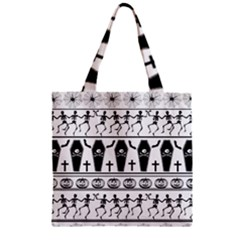 Halloween Pattern Zipper Grocery Tote Bag