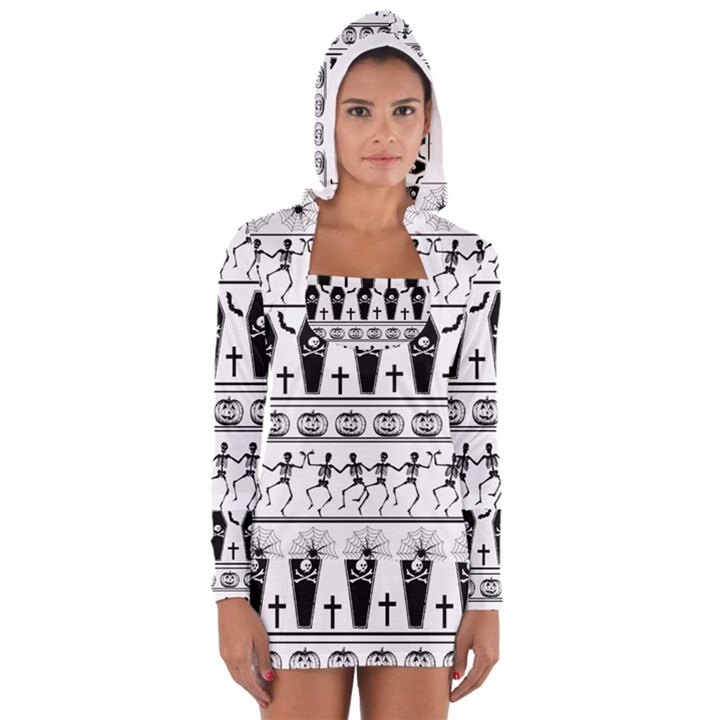 Halloween pattern Long Sleeve Hooded T-shirt