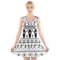 Halloween Pattern V Neck Sleeveless Skater Dress