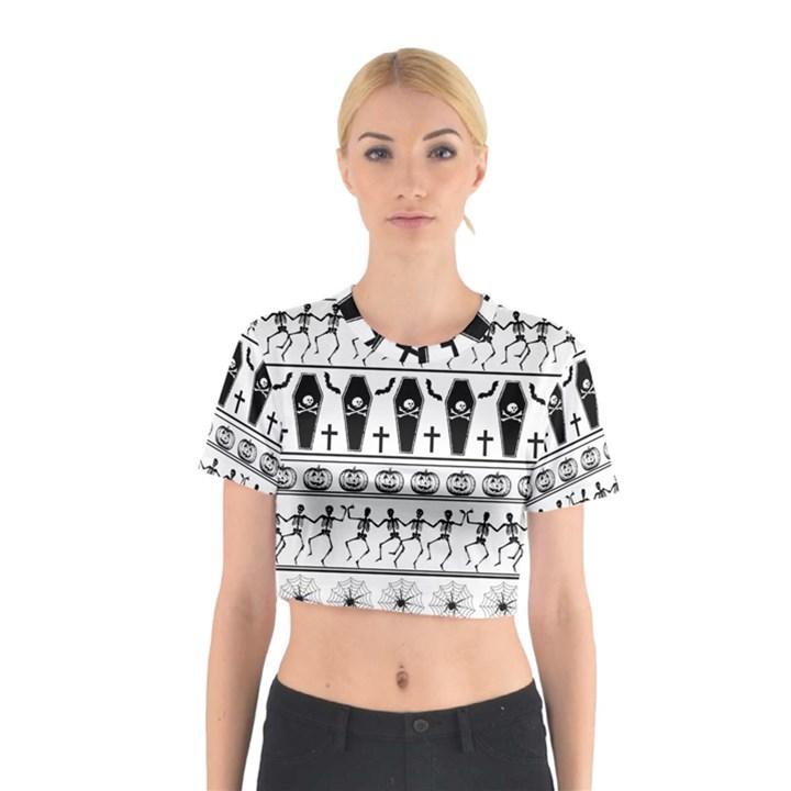 Halloween pattern Cotton Crop Top