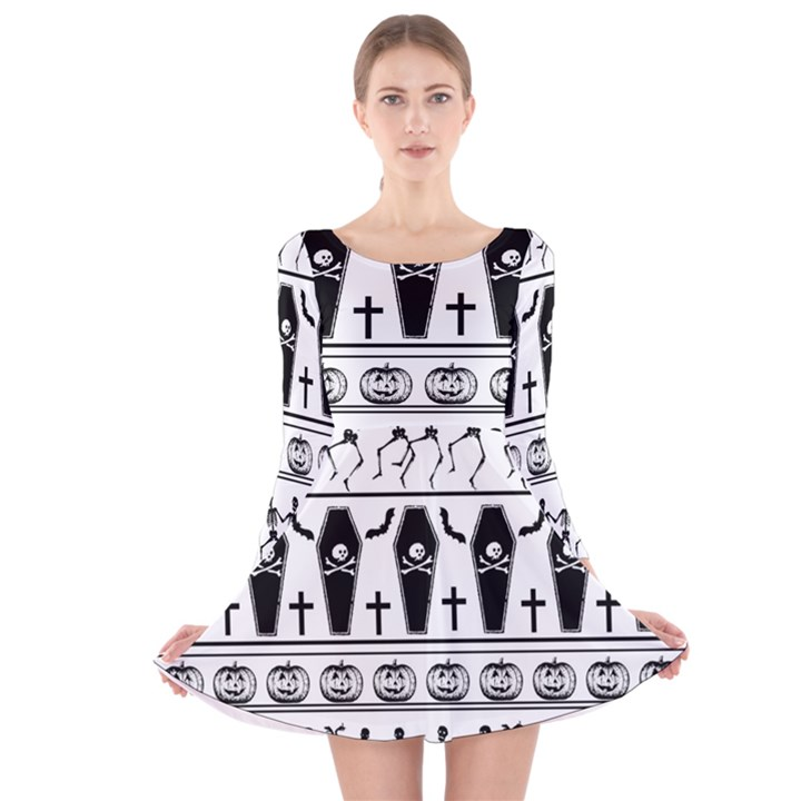 Halloween pattern Long Sleeve Velvet Skater Dress