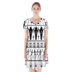 Halloween Pattern Short Sleeve V Neck Flare Dress