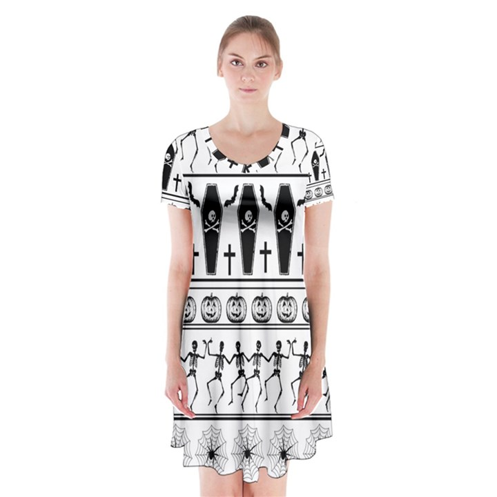 Halloween pattern Short Sleeve V-neck Flare Dress