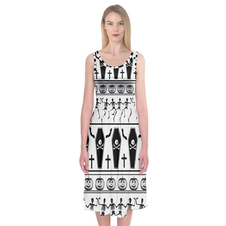 Halloween pattern Midi Sleeveless Dress