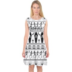Halloween Pattern Capsleeve Midi Dress