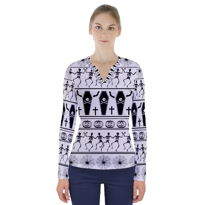 Halloween pattern V-Neck Long Sleeve Top