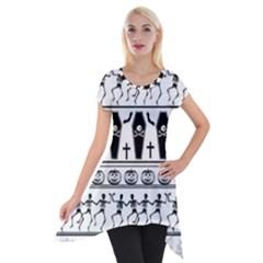 Halloween Pattern Short Sleeve Side Drop Tunic