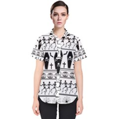 Halloween Pattern Women s Short Sleeve Shirt