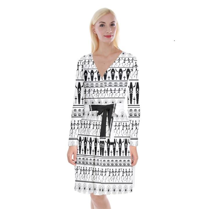 Halloween pattern Long Sleeve Velvet Front Wrap Dress