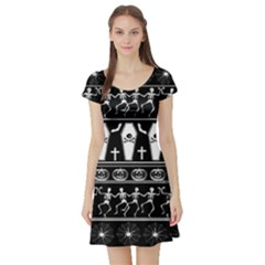 Halloween Pattern Short Sleeve Skater Dress