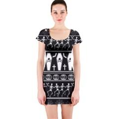 Halloween Pattern Short Sleeve Bodycon Dress