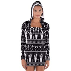 Halloween Pattern Long Sleeve Hooded T Shirt