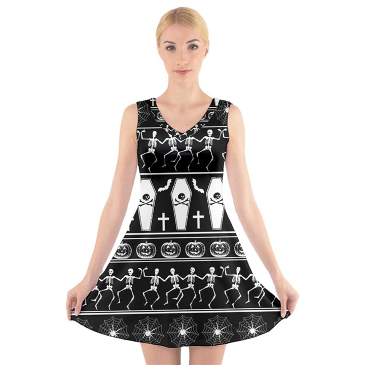 Halloween pattern V-Neck Sleeveless Skater Dress