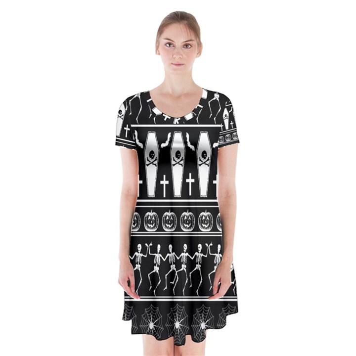 Halloween pattern Short Sleeve V-neck Flare Dress