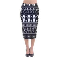 Halloween Pattern Velvet Midi Pencil Skirt
