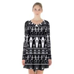Halloween Pattern Long Sleeve Velvet V Neck Dress