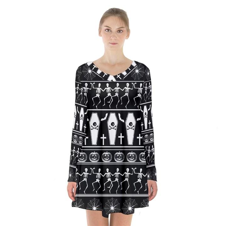 Halloween pattern Long Sleeve Velvet V-neck Dress