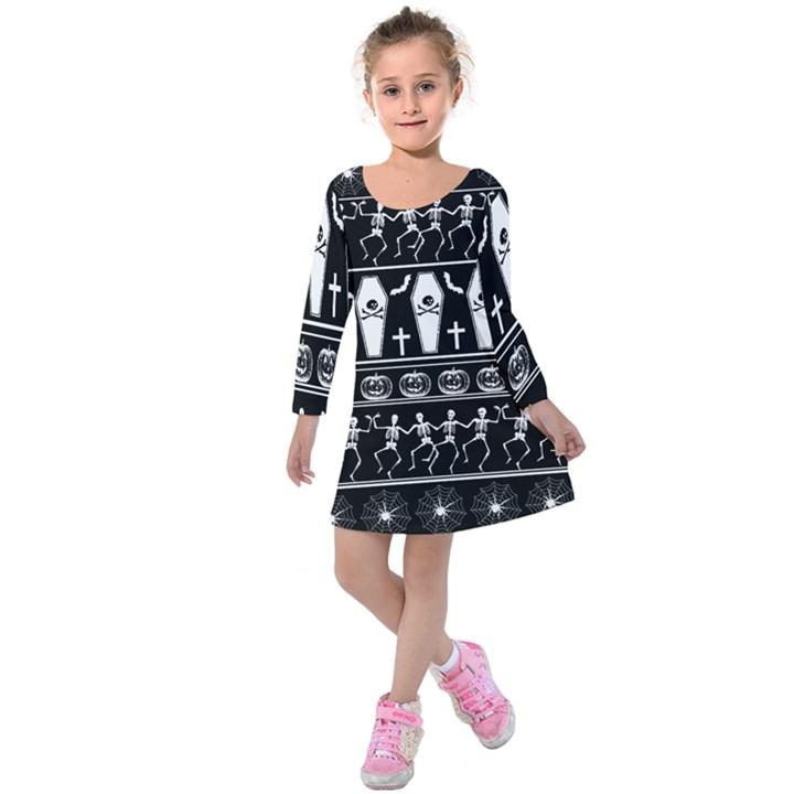 Halloween pattern Kids  Long Sleeve Velvet Dress