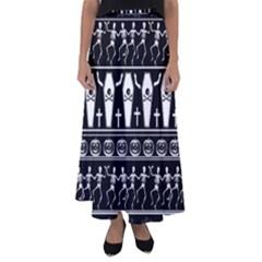 Halloween Pattern Flared Maxi Skirt