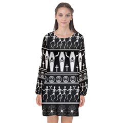 Halloween Pattern Long Sleeve Chiffon Shift Dress