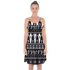 Halloween Pattern Ruffle Detail Chiffon Dress