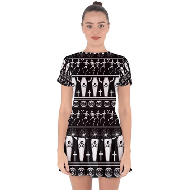 Halloween pattern Drop Hem Mini Chiffon Dress