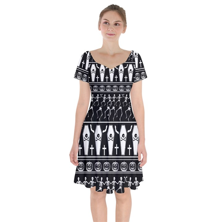 Halloween pattern Short Sleeve Bardot Dress