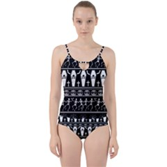 Halloween Pattern Cut Out Top Tankini Set