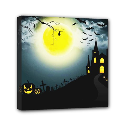 Halloween Landscape Mini Canvas 6  X 6