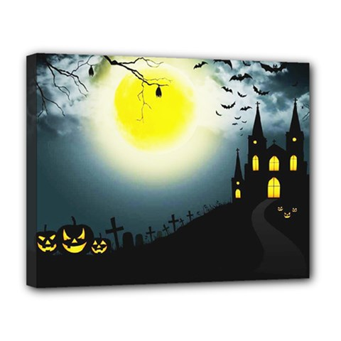 Halloween Landscape Canvas 14  X 11