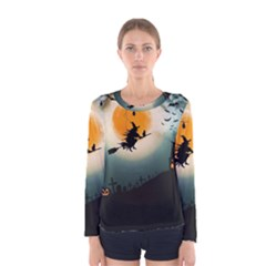 Halloween Landscape Women s Long Sleeve Tee