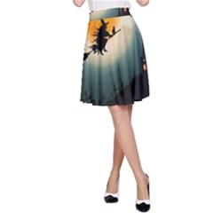 Halloween Landscape A Line Skirt