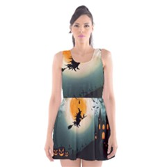 Halloween Landscape Scoop Neck Skater Dress