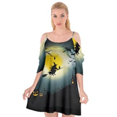 Halloween Landscape Cutout Spaghetti Strap Chiffon Dress
