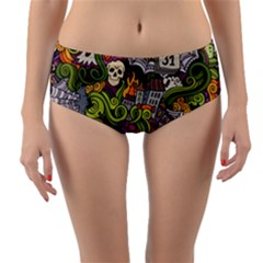 Halloween Pattern Reversible Mid Waist Bikini Bottoms