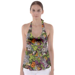 Halloween Pattern Babydoll Tankini Top