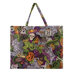 Halloween Pattern Zipper Large Tote Bag