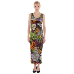 Halloween Pattern Fitted Maxi Dress