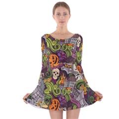 Halloween Pattern Long Sleeve Velvet Skater Dress
