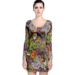 Halloween Pattern Long Sleeve Velvet Bodycon Dress