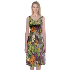 Halloween Pattern Midi Sleeveless Dress